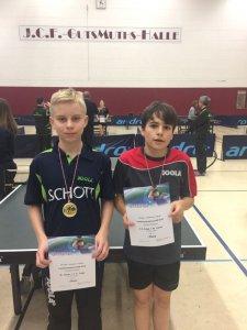 Jannis Junge (r.) siegte bei den B-Schülern im Einzel und mit Max Kaiser im Doppel