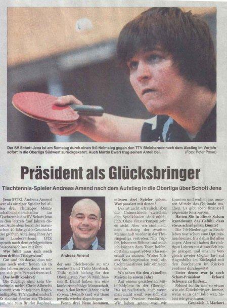 Artikel zum Aufstieg der 1. Herren in die Oberliga