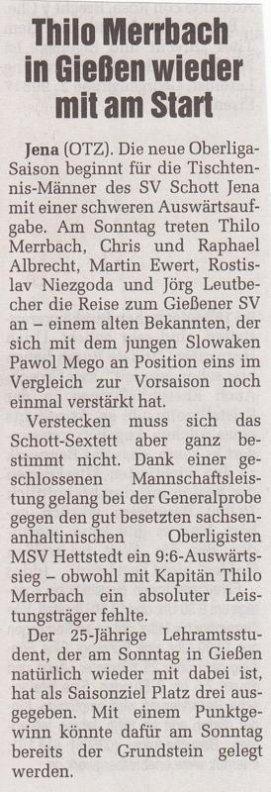 Presseartikel OTZ vom 03.09.2010