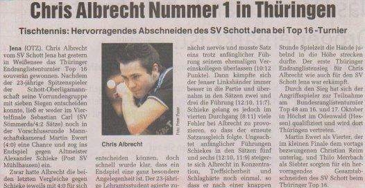 Chris Albrecht Nummer 1 in Thüringen