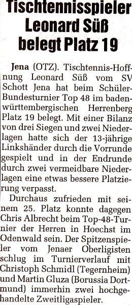 Tischtennisspieler Leonard Süß belegt Platz 19